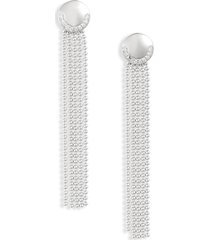 women's knotty deco ball & chain fringe drop earrings