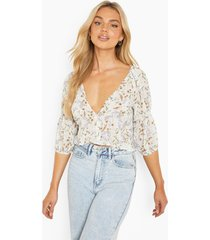 bloemenprint blouse, ivory