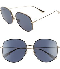 women's dior 58mm gradient square sunglasses - gold/ blue ms gold