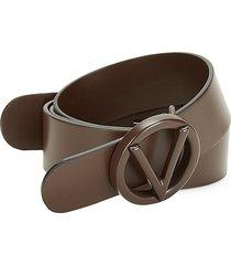valentino by mario valentino men's circular logo buckle leather belt - black - size 42