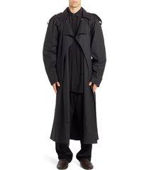 men's bottega veneta technical coated trench coat, size 48 eu - black