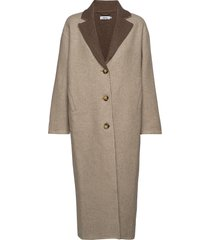 terra coat wollen jas lange jas beige stylein