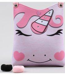 bolsa infantil unicórnio com strass + elásticos de cabelo rosa claro
