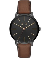 ax armani exchange men's cayde brown leather strap watch 42mm