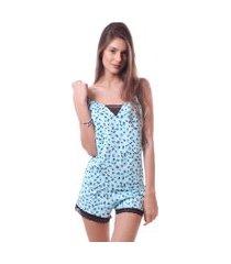 pijama simony lingere shorts doll plus size new confort e renda azul