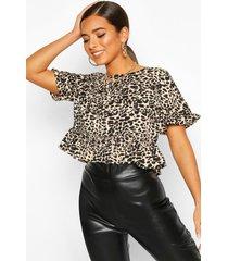 leopard print ruffle sleeve smock top, brown