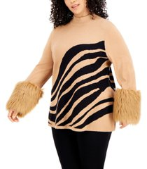 alfani plus size printed faux-fur-cuff sweater, created for macy's