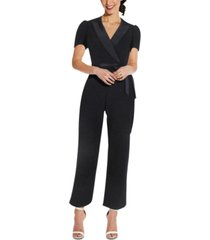 adrianna papell petite cropped crepe jumpsuit