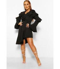 asymmetrische midi jurk met ruches, zwart