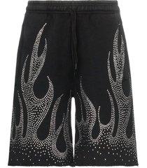 filles a papa crystal-embellished flame motif cotton shorts - black