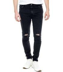 pantalón skinny fit con rotos color blue