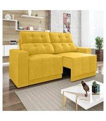 sofá 4 lugares net jaguar assento retrátil e reclinável canário 2,30m (l)