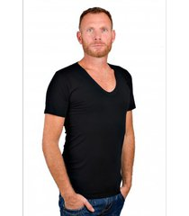 rj bodywear men deep v-neck t-shirt black