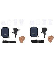 2 mini audifonos amplificadores de sonido recargables