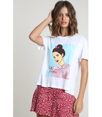 "blusa feminina ""follow your dreams"" manga curta decote redondo off white"