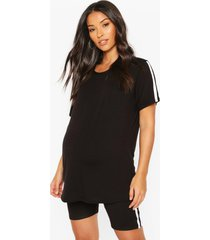 maternity cycling short & t-shirt lounge set, black