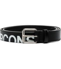 comme des garçons wallet logo-print leather belt - black