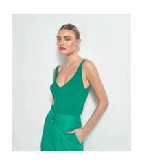 blusa regata com decote v e alça fina em tricô | cortelle | verde | p