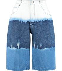 alberta ferretti denim wide-fit bermuda shorts