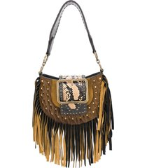 dsquared2 oversized buckle fringe shoulder bag - brown