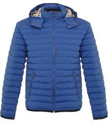 aquascutum emmett diamond quilted bright blue hooded jacket blga16waejm