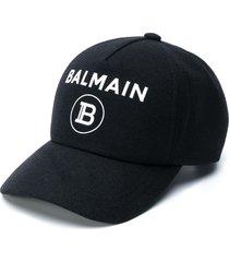 balmain embroidered-logo baseball cap - black
