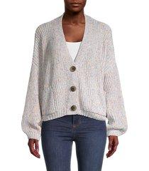 lea & viola women's speckled-knit cardigan - size l