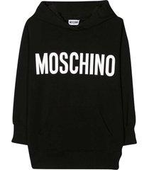 moschino black maxi hoodie with logo