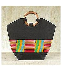 cotton kente tote bag, 'neighborly love' (ghana)