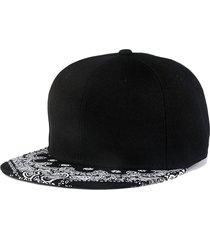 flor de anacardo hip hop sombrero sombrero plano moda-negro