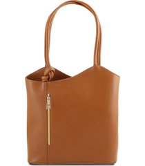 tuscany leather tl141455 patty - borsa donna convertibile a zaino in pelle saffiano cognac