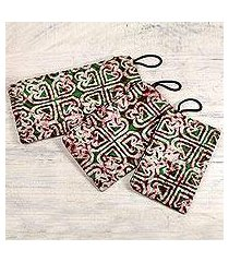 cotton wristlet purses, 'three of hearts' (set of 3) (ghana)