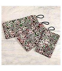 cotton wristlet purses, 'three of hearts' (set of 3) (ghana)