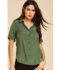 yoins botón verde militar diseño camiseta con cuello reverente