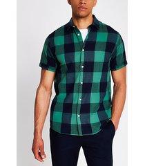 mens jack and jones green and navy check shirt