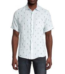 saks fifth avenue men's novelty seahorse linen shirt - light blue - size m