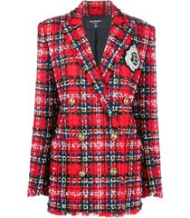 oversized tartan tweed blazer