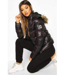 high shine hooded padded coat with faux fur trim, black