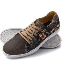 sapatênis lucilena calcados.net sapatenis em couro cafe com tecido floral masculino - masculino