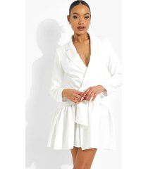 gedrappeerde blazer jurk met franjes, white