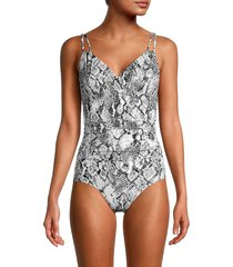 calvin klein women's python-print one-piece swimsuit - charcoal python - size 10