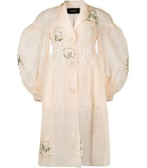 simone rocha floral-embroidered tulle coat - neutrals