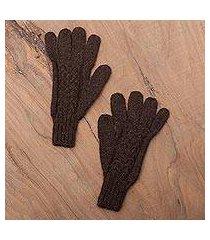 100% alpaca gloves, 'winter walk in mahogany' (peru)