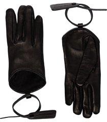 off-white zip-tie detail gloves - black