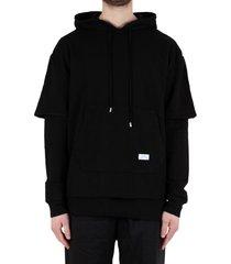 double layered hoodie - black