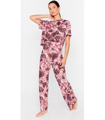 womens hey me again tie dye top and pants pajama set - mauve