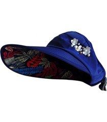 chapéu viseira artestore estampa floral azul