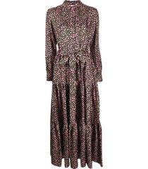 la doublej floral shirt maxi dress - black