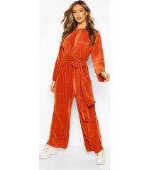 premium plisse tie waist lounge jumpsuit, rust