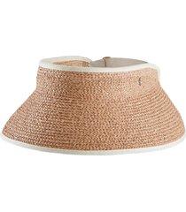 helen kaminski woven raffia visor in nougat/sand at nordstrom